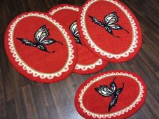 ROMANY GYPSYS WASHABLES NEW 2018 OVAL BUTTERFLYS NON SLIP CHRISTMAS RED/CREAM
